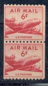 US Stamp #C 41 MNH – DC 4 Skymaster Coil Pair