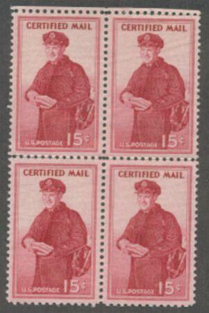 US Scott #FA1 MNH – Certified Mail – Plate Block of 4