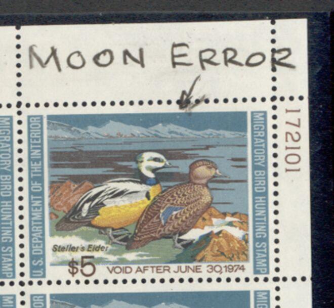 US Scott #RW40 MNH SUPER Pair of Steller's Eiders Plate Block – ERROR