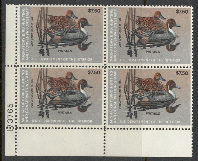 US Scott #RW50 MNH GREAT Pair of Pintails on a Pond Plate Block