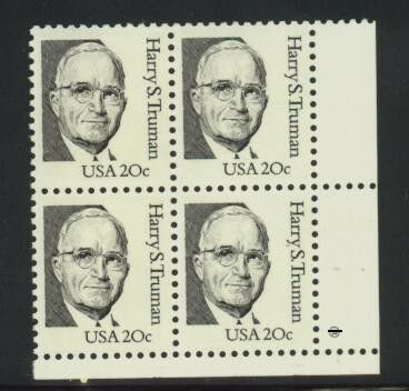 US Stamp #1862 MNH – Harry Truman – Block of 4 w/ Plate Number
