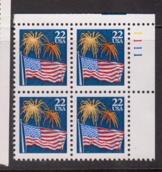 US Stamp #2276 MNH – Flag with Fireworks – Plate Block of 4