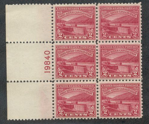 US Stamp #681 MNH – Ohio River Canalization Plate Block of 6