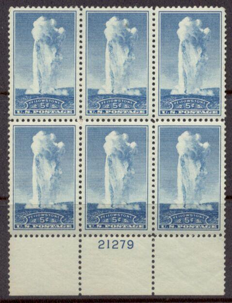 US Stamp #744 MNH – 'Old Faithful' Yellowstone – Plate Block of 6