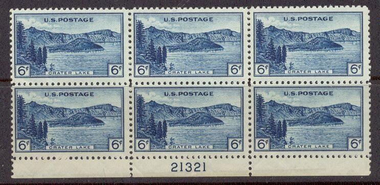 US Stamp #745 MNH – Crater Lake Oregon – Plate Block of 6