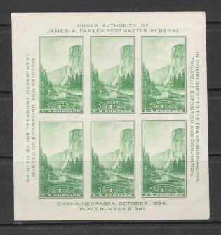 US Stamp # 751 MLH – Trans-Mississippi Philatelic Exhibition Souvenir Sheet