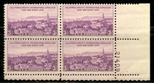 US Stamp #773 MNH – California Pacific Expo – Plate Block of 4