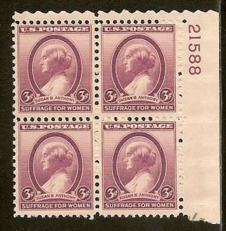 US Stamp #784 MNH – Susan B. Anthony – Plate Block of 4