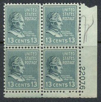 US Stamp #818 MNH – Millard Fillmore – Plate Block of 4