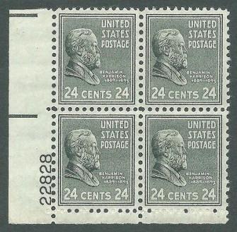 US Stamp #828 MNH – Benjamin Harrison – Plate Block of 4
