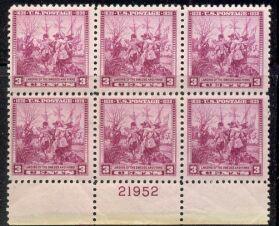 US Stamp #836 MNH – Swedish-Finnish Tercentenary – Plate Block of 6