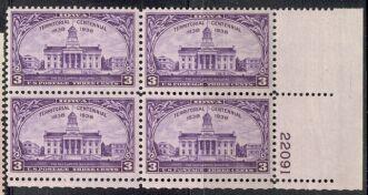 US Stamp #838 MNH – Iowa Territory – Plate Block of 4