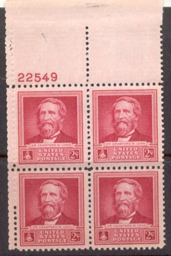 US Stamp #875 MNH – Dr. Crawford W. Long – Plate Block of 4