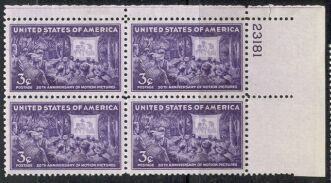 US Stamp #926 MNH – Motion Pictures – Plate Block of 4
