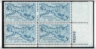 US Stamp #984 MNH – Annapolis Tercentenary – Plate Block of 4