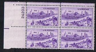 US Stamp #994 MNH – Kansas City Centennial – Plate Block of 4