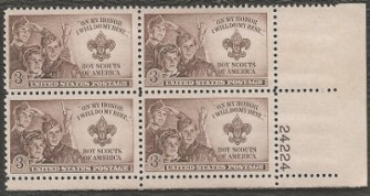 US Stamp #995 MNH – Boy Scouts – Plate Block of 4
