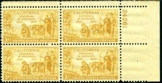 US Stamp #997 MNH – California Statehood – Plate Block of 4