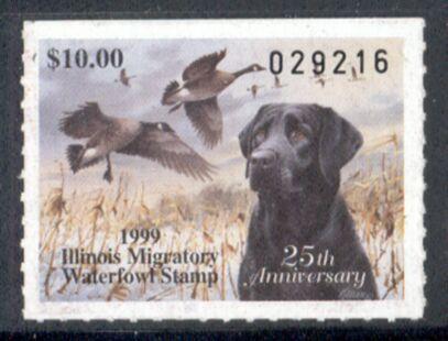US Scott #IL25 MNG – BEAUTIFUL Black Labrador Retriever and Canada Geese