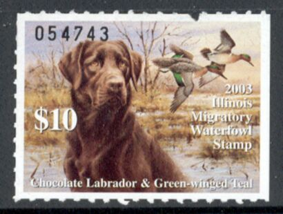 US Scott #IL29 MNG – Chocolate Labrador and Green-Winged Teal Ducks