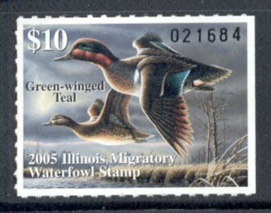US Scott #IL31 MNG – GREAT Green-Winged Teal Pair in Flight