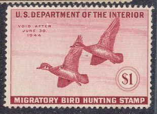 US Scott #RW10 MNG WONDERFUL Wood Ducks Pair in Flight