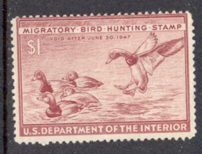 US Scott #RW13 MLH REMARKABLE RedHead Ducks Alighting