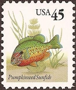 US Stamp #2481 MNH – Pumpkinseed Sunfish Plate Block of 4