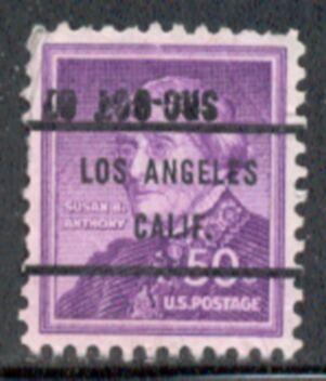 US Stamp #1051×71 Susan B. Anthony w/ #71 Los Angeles Calif Precancel
