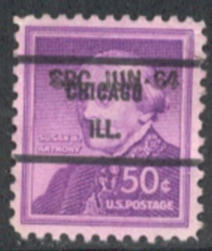 US Stamp #1051×71 Susan B. Anthony w/ #71 Chicago Ill Precancel