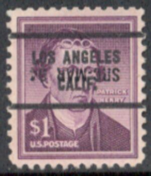 US Stamp #1052×71 Patrick Henry w/ #71 Los Angeles Calif. Precancel