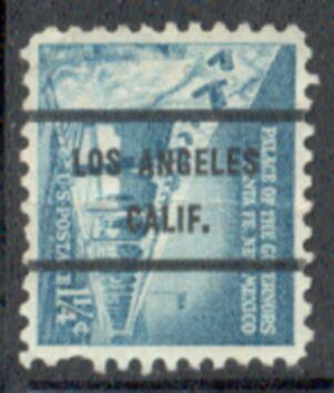 US Stamp #1031Ax71 Palace of Govs. w/ #71 Los Angeles Calif Precancel