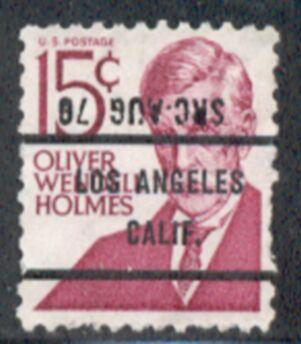 US Stamp #1288×71 Oliver Wendell Holmes w/ #71 Los Angeles Calif Precancel