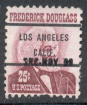 US Stamp #1290×71 Frederick Douglas w/ #71 Los Angeles Calif Precancel
