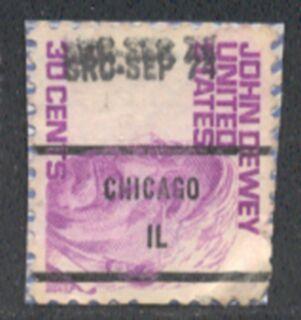 US Stamp #1291×81 John Dewey w/ #81 Chicago IL Precancel