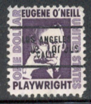 US Stamp #1294×71 Eugene O'Neill w/ #71 Los Angeles Calif Precancel