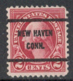 US Stamp # 634×61 George Washington w/ #61 New Haven Conn Precancel