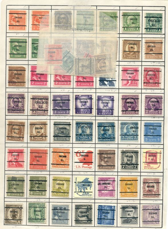 US Stamps – Illinois Precancels (110) on pages – Total CV~$17.20
