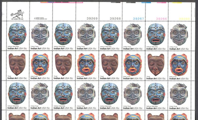 US Stamp #1834-1837 MNH – Indian Masks – Full Sheet