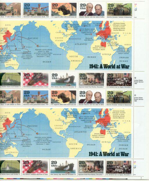US Stamp #2559a-j MNH – World War II 1941 – Full Sheet