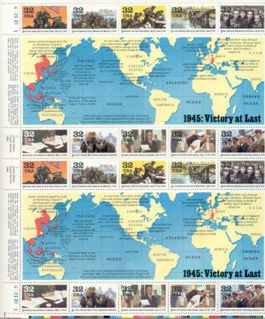 US Stamp #2981a-j MNH – World War II 1945 – Full Sheet