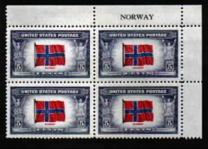 US Stamp #911 MNH – Overrun Nations – Name Block of 4