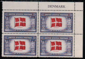 US Stamp #920 MNH – Overrun Nations – Name Block of 4