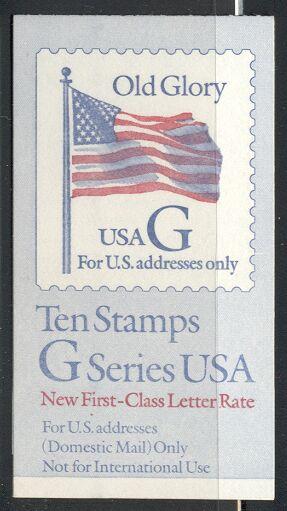 US Stamp #BK220 MNH – Black 'G' Rate (32c) Booklet w/1 #2883a Pane