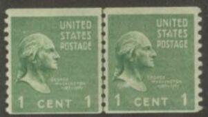 US Stamp # 839 MNH – George Washington – Coil Line Pair