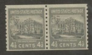 US Stamp # 844 MNH – Prexie Coil Line Pair – 41/2 cent