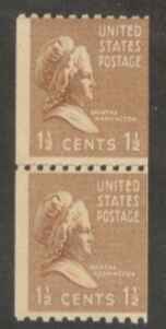 US Stamp # 849 MNH – Prexie Coil Line Pair – 11/2 cent