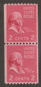US Stamp # 850 MNH – Prexie Coil Pair – 2 cent