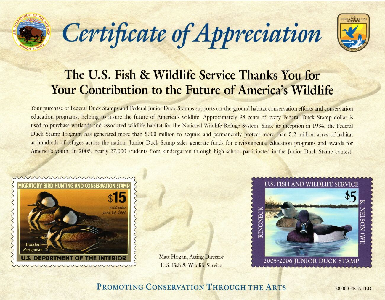US Scott #RW72 w/ #JDS13 Certificate of Appreciation