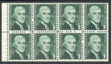 US Stamp #1278a MNH – Thomas Jefferson Booklet Pane of 8 w/ Dull Gum